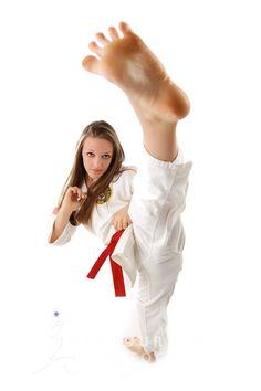 High school senior portrait on white in studio Female Martial Artists, Martial Arts Women, Female Art, Taekwondo, Studio Portraits, Senior Portraits, Roundhouse Kick, Self Defense Martial Arts, Female Pose Reference