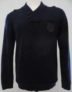 The Kooples Mens Sweater L Navy Cowl Neck Crest Wool Blue Large Sz Size 2 Button #TheKooples #Crewneck