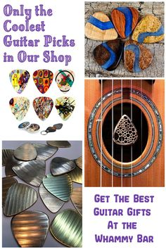 Check out the gift and accessory shop At the Whammy Bar. We've got the gnarliest guitar picks, rare burl and exotic hard woods, resin combos, cymbal reclaims, skateboard reclaims and more. Guitar gifts to accommodate every budget range. Whether you're looking for something for your favorite guitarist, or a treat for yourself, we've got all the coolest stuff. No boring gifts here. This is a highly curated shop. Only the awesomest stuff gets in. You coming? Guitar Accessories, Accessories Shop, Cool Guitar Picks, Guitar Gifts, Cool Electric Guitars, Beautiful Guitars, Classical Guitar, Vintage Guitars, Guitar Lessons