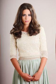 Cream chiffon top and mint skirt