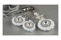 Schmuckset Bettelkette Ohrringe weiß von Sakirhala auf DaWanda.com