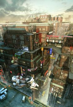 39 Ideas Science Fiction Cyberpunk Cityscapes For 2019 Cyberpunk City, Arte Cyberpunk, Ville Cyberpunk, Futuristic City, Kowloon Walled City, Sci Fi Stadt, Science Fiction Kunst, Sci Fi City, 3d Studio