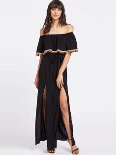 Shein Black M-Slit Bardot Maxi Dress With PomPom