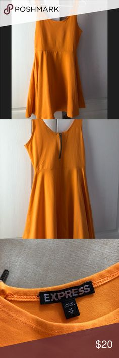 Neon orange Express sleeveless dress Neon orange sleeveless Express dress w/ zipper on back - never worn. Cute for a wedding, shower, or girls night out- by itself or under a blazer! Versatile & soft material (95% cotton, 5% spandex). Express Dresses Mini