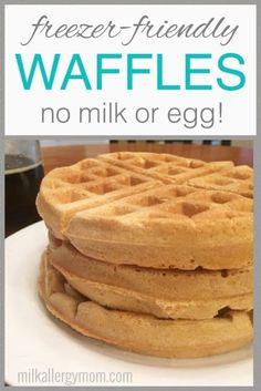 Freezer-Friendly Dairy-Free and Egg-Free Waffles Recipe at Milk Allergy Mom. Egg Free Waffle Recipe, Egg Free Recipes, No Dairy Recipes, Waffle Recipes, Baby Food Recipes, Simple Vegan Waffle Recipe, Dairy Free Desserts, Dairy Free Snacks, Pancake Recipes