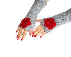 Gloves, Handmade gloves, winter accessories, Flowers gloves, Wool Gloves,Winter gifts, Mittens, women accessories, glove, gift ideas on Etsy, $30.00