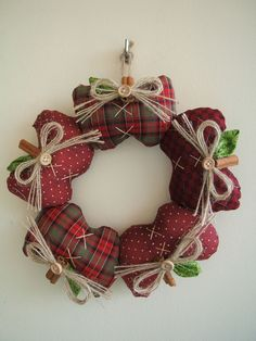 Stitch your own apples out of red and green plaids, add twine bows secured with a button center and attach to a wire wreath frame. Christmas Sewing, Christmas Love, Christmas Crafts, Christmas Ornaments, Wreaths And Garlands, Holiday Wreaths, Wreath Crafts, Diy Wreath, Apple Decorations