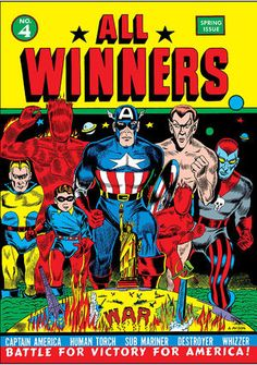 All Winners 4 Captain America, Sub-Mariner, Destroyer, Human Torch, Whizzer… Marvel Comics, Old Comics, Marvel Comic Books, Comic Books Art, Comic Art, Book Art, Vintage Comic Books, Vintage Comics, Dc Universe