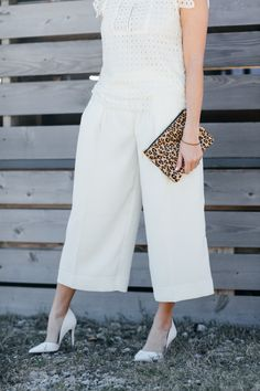 Accent an all-white look with a pop of print + 7 Ways to Wear Culottes for all body types. #bananarepublic #culottes #white #winterwhite #spring2016