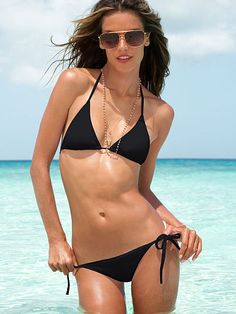 Triangle Bikini Set Beach Sexy  - perfect little black bikini for Lake Martin!