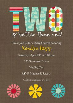 twins baby shower invitations for twins with by katiedidesigns, $13.00