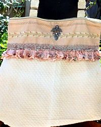 One of a Kind Luxurious Romantic Cream & RoseTote Bag-pink,antique, quilted, hand sewn,designer, us, wallpaper,ruffle, shabby, chic,French,hotel,club,fabric,brooch, heart, cherub,silver, pool,fleamarket