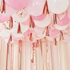 Ginger Ray Blush White And Rose Gold Balloon Ceiling Kit – Build a Birthday NZ Balloon Ceiling Decorations, Hen Party Decorations, Balloons On Ceiling, Pink Birthday Decorations, 30th Birthday Balloons, Pink Decorations, Baby Shower Balloon Decorations, Ceiling Murals, Rose Gold Paper