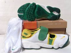 Nike Rift Shoes Nike Air Rift White Green Yellow [Nike Air Rift - Eye-catching green midfoot strap, yellow trim and Nike swoosh add lots of beauty and fascination to the Nike Air Rift White Green Yellow shoes. The white upper is generous. The shoes fe Burberry, Gucci, Nike Air Rift, Yellow Nikes, Timberland, Prada, Chanel, Adidas, Nike Shoes