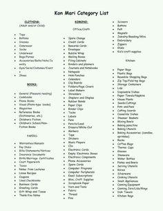 Konmari categories