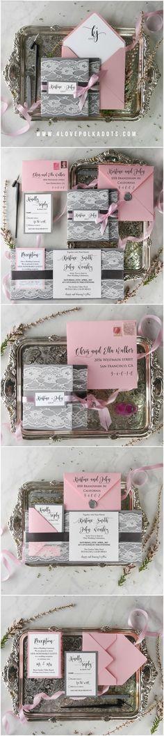 Grey & Pink Lace Wedding Invitations #vintage #romantic #lace #weddinginvites #weddingideas #grey #pink