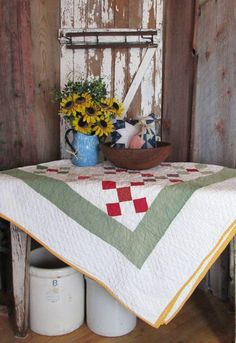 Decorating with antique quilts. Vintageblessings.com