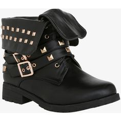 Studded Fold-Over Combat Ankle Boots (Wide Width) | Torrid