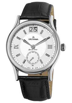 Ceas Grovana Grande Date Brown Leather Strap Watch, Watches For Men, Wrist Watches, Men's Watches, Mechanical Watch, Pocket Watch, Quartz, Swiss Watch, Silver