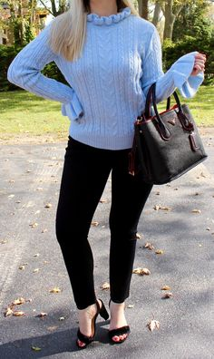 blue ruffle knit, blue sweater, prada bag