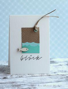 card fish sea water waves  - karte der kleine klecks