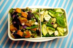 Lunchbox Salad Duo: White Bean & Courgette / Sweet Potato & Beetroot. Healthy lunch/dinner.