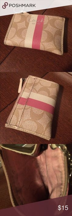 Coach coin purse Coach coin purse. Has stains on the back and inside from coins, but still cute and functional. Coach Bags Wallets
