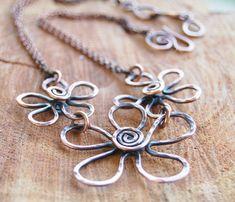 Copper Wire Jewelry | Flower Necklace. Copper. Bib. Textured. Oxidized. Wire Jewelry.