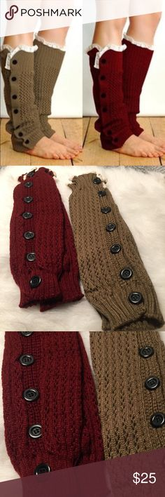 Knit Lace Top Leg Warmers 2 Pair Knit Lace Top Leg Warmers 2 Pair Wine Color and Khaki Color NWT No Trades Accessories Hosiery & Socks