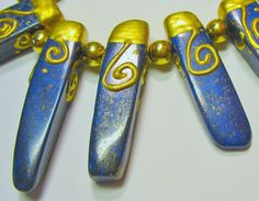 Lapis Gold Plated Side Drilled 25-40mm Stick Points 7 Beads Unique Statement