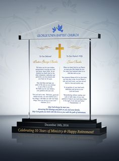 Traditional meets modern with this gorgeous Pastor 50th Anniversary Gift Plaque. With deep etch engraving included; it�s hard to imagine a more perfect golden jubilee anniversary gift for pastor than this 50th Pastoral Anniversary Gift Plaque.