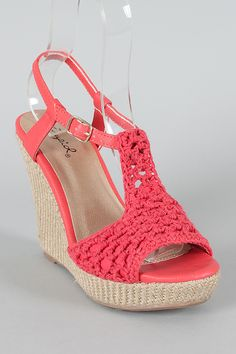 Qupid Lena-399 Crochet Open Toe Wedge. Add a dash of drama to your look with these beautiful wedges! It features open toe front, crochet design upper, rope platform, and wedge heel. Finished with lightly padded insole and adjustable ankle strap with buckle closure. material: leatherette. colors: black, brown, coral, stone.