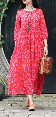 1243734e389 Italian red print cotton tunics for women Korea Fabrics o neck pockets Robe  Summer Dresses