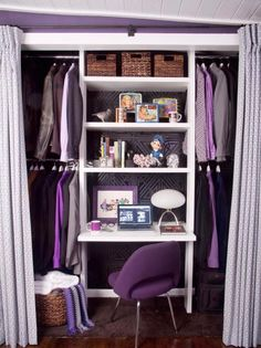 Doors to this closet have been replaced by white and lavender curtains, while inside, a white multi-shelf unit makes space to hang clothes on racks, store wicker baskets on a shelf and display vintage knickknacks.