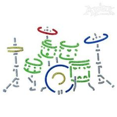 Drums Music Embroidery Design Size: X Apex Embroidery, Embroidery Designs, Drum Music, Embroidered Hats, Monogram Fonts, Music Stuff, Drums, Size 2, Crafts