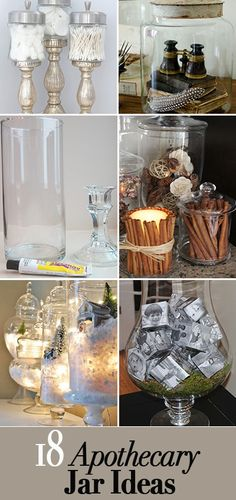 18 Lovely Apothecary Jar Ideas Ideas for making and filling pretty apothecary jars Love these creative ideas Apothecary Jars Decor, Jar Fillers, Dollar Tree Crafts, Decorated Jars, Mason Jar Crafts, Mason Jars, Decorating On A Budget, Glass Jars, Dollar Stores