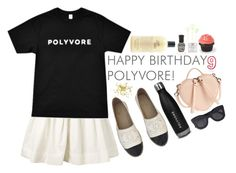 """Untitled #401 // Happy Birthday, Polyvore!"" by pinkandgoldsparkles ❤ liked on Polyvore featuring Marc Jacobs, Chanel, philosophy, Deborah Lippmann, Marc by Marc Jacobs, Sara Happ, CÉLINE, women's clothing, women and female"
