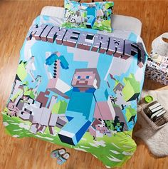 Minecraft Bedding Cover Set -Your choice of Twin 2PCS, All Sets include One of a Kind Custom Print Design Covers Material: Cotton Includes: Sel