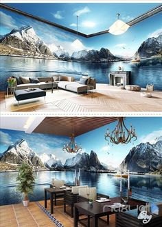 Image of Snow Mountain Lake Theme Space entire room wallpaper wall mural decal Wall Clock Sticker, Wall Mural Decals, Floor Wallpaper, Wall Art Wallpaper, Floor Design, House Design, Floor Murals, 3d Prints, Snow Mountain