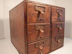 Oak Library Card File / Brass Pulls / Antique