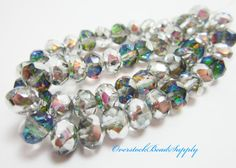 10 Czech Rondelles Czech Beads Silver and by OverstockBeadSupply