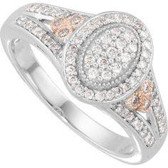 14K White Gold Diamond Ring with Rose Plating  $1,080.00