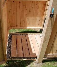 Don't be caught standing on a cold cement shower floor... get a cedar floor instead! It will fit perfectly in one of our outdoor showers too.