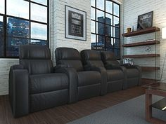 Edge XL800 Theatre Chairs - Octane Seating - Black Leather - Power Recline - Row 4 Theater Seats: Kitchen & Dining