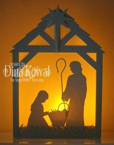 Nativity with tealight - lit