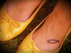 Jesus fish tattoo on foot. Find and save ideas about Jesus fish tattoo on foot on Tattoos Book. More than FREE TATTOOS Foot Tattoos, New Tattoos, Tatoos, Christian Fish Tattoos, Yellow Shoes, Future Tattoos, Get A Tattoo, Tattoo Designs, Tattoo Ideas