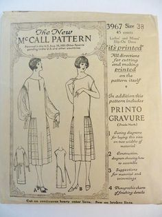 Vintage 20s Dress Pattern McCall 3967 Dropped Waist Flapper