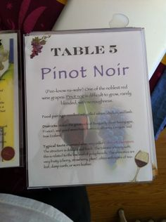 Table numbers with wine info for wine-themed wedding!