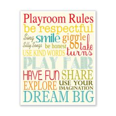 Kids Wall Art / Nursery Decor Playroom Rules ... by KZukowski