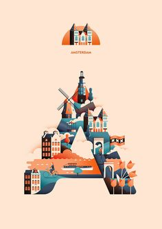 The Wanderlust Alphabet beautifully brings together Travel, Typography & Illustration - Digital Arts